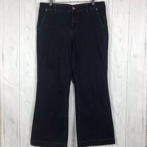 Lands End Trouser Jean Size 12 Women Blue Mid Rise